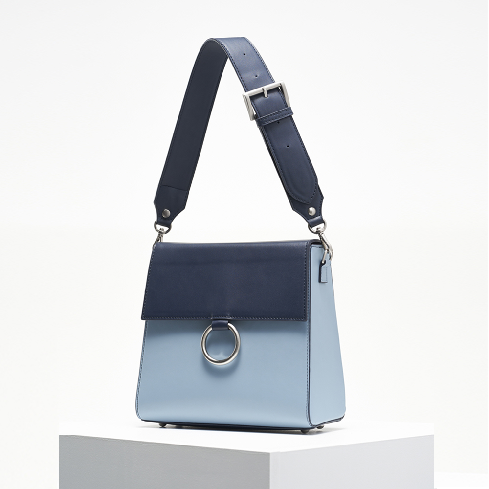 Two strap bag_navy&skyblue