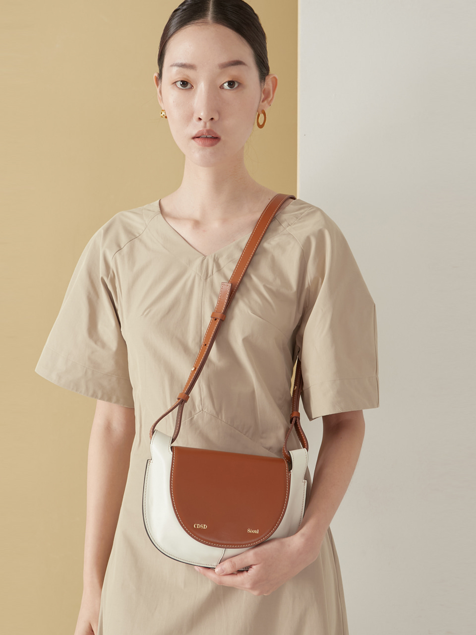 Pie bag_white&camel