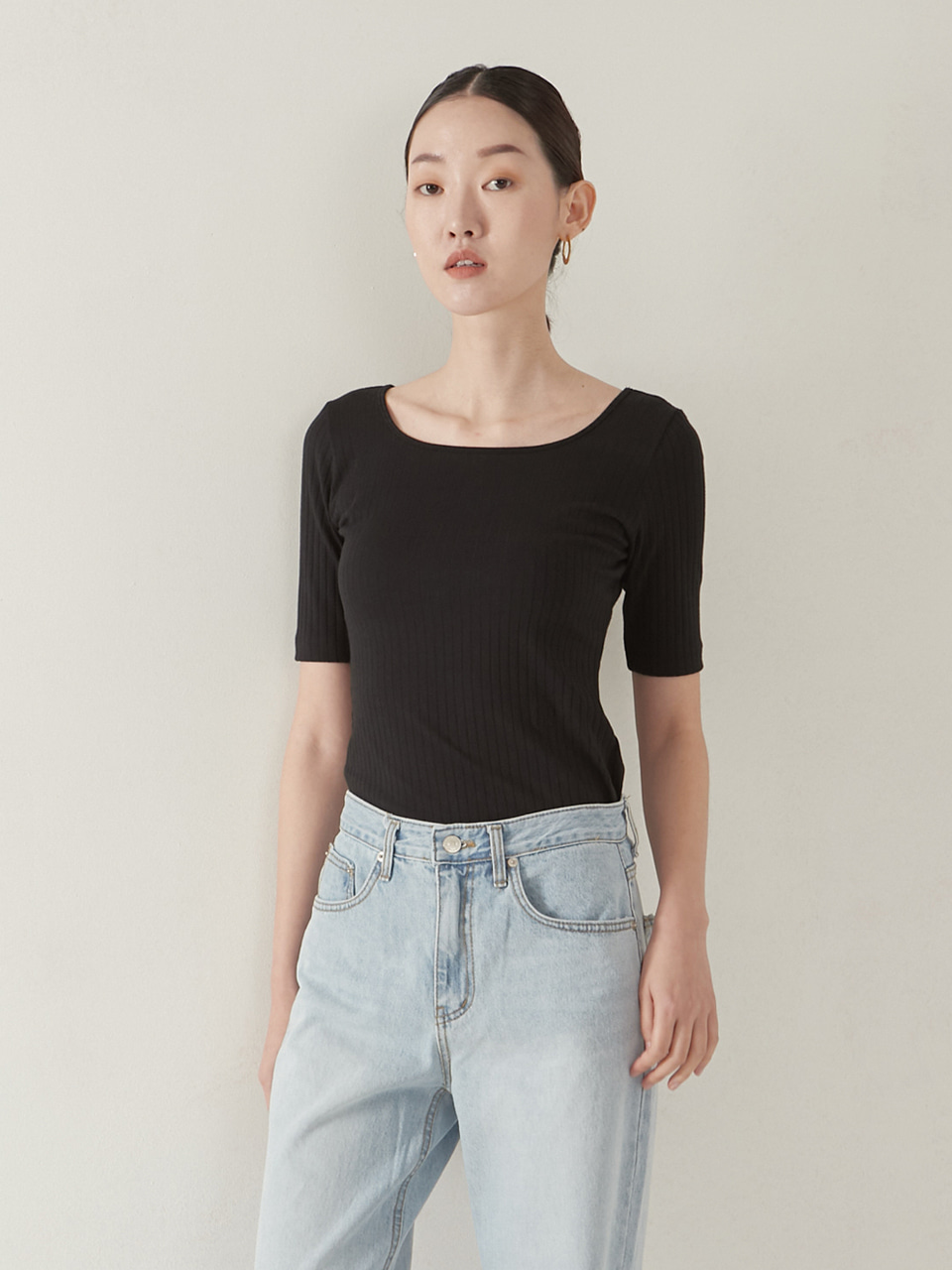2way rib top_black