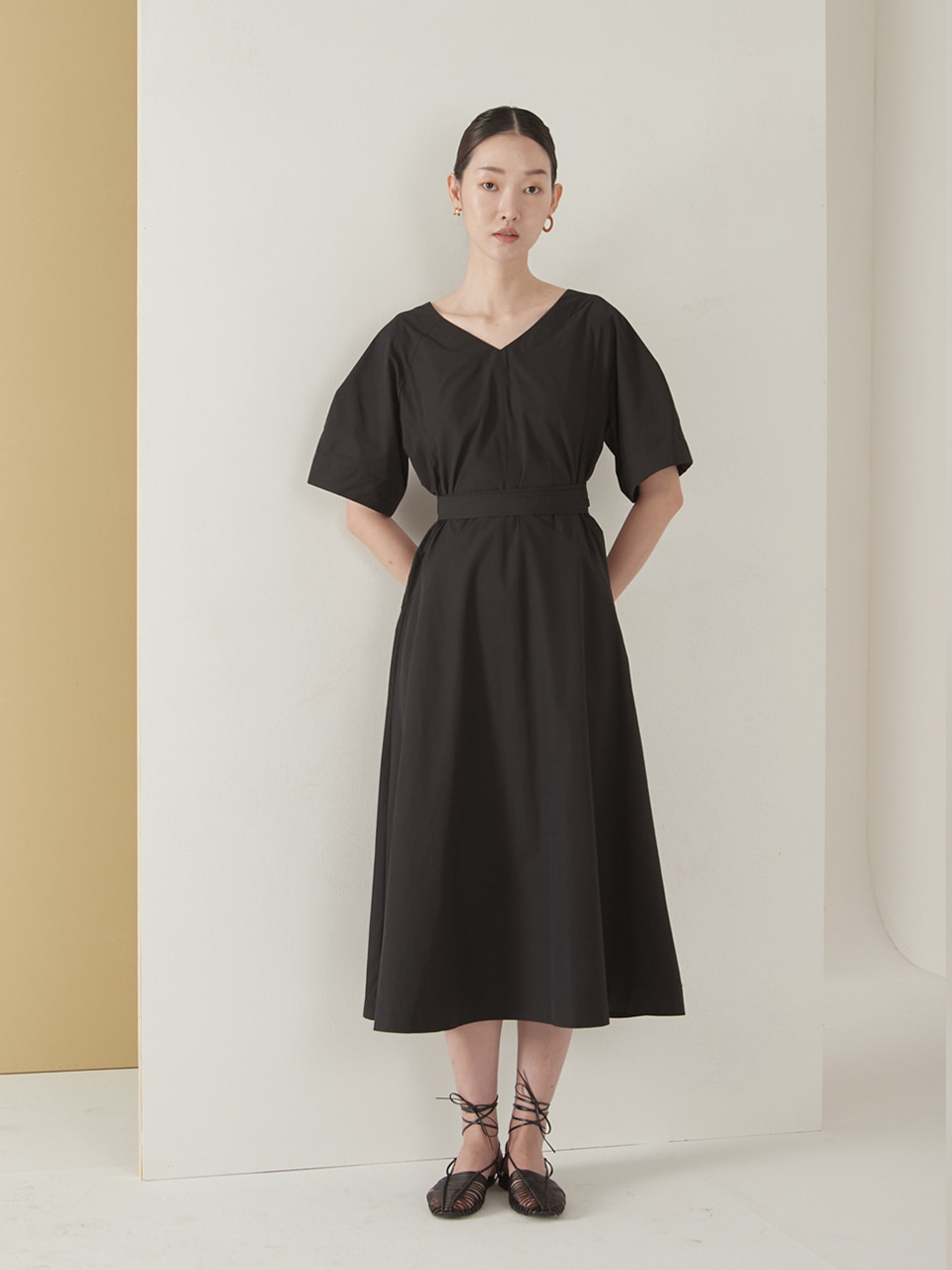 Bias cutting dress_black