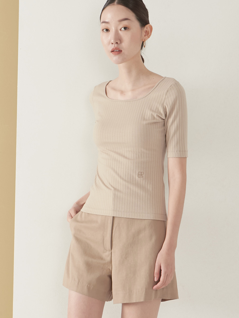 2way rib top_beige